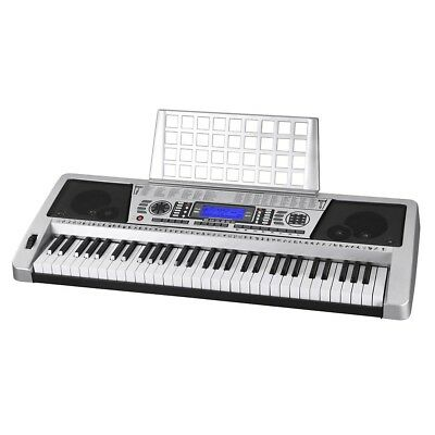 Silver 61 Key LCD Display Electronic Keyboard Digital Electric Piano Music