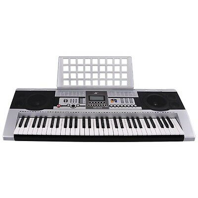 "Silver 61 Key LCD Display Electronic Keyboard 38"" Digital Electric Piano Music"