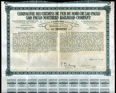 1916 Brazil: Sao Paulo Northern Railroad Company