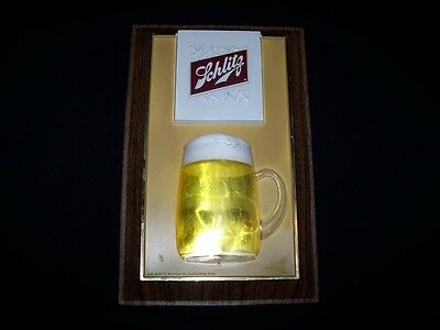 """Schlitz Beer Sign Vintage 14"""" x 9"""" Ale Plastic Picture Alcohol Brewery"""