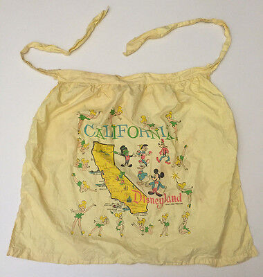Vintage Disneyland California Yellow 100% Cotton Apron
