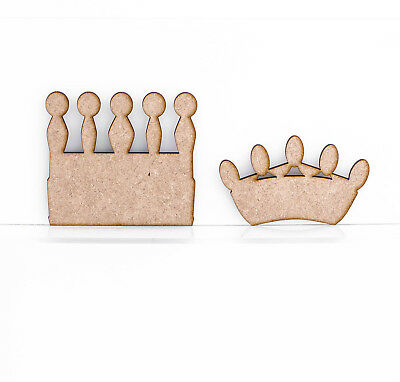 New Wooden MDF Crown Princess King Prince Decoration 3mm Thick Tags Blank