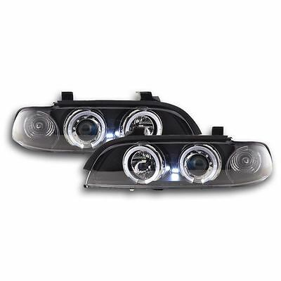 Bmw 5 Series E39 1996-2000 Black Angel Eye Halo Projector Headlights Pair