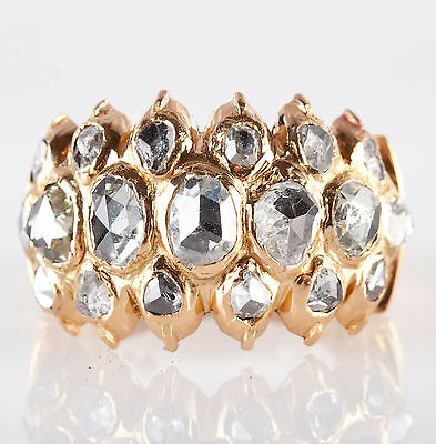 Victorian Vintage 1880's 18k Yellow Gold Rose Cut Diamond Cocktail Ring 2.0ctw