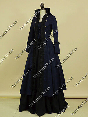 QUALITY! Victorian Edwardian Steampunk Punk Coat Dress Theater Clothing Navy 176