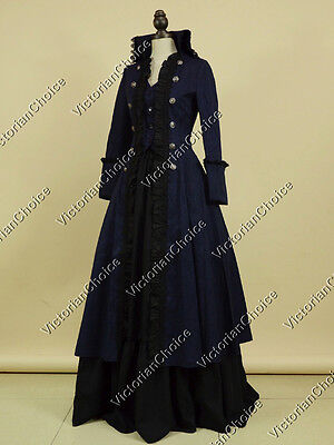 Victorian Edwardian Steampunk Punk Coat Dress Theater Cosplay Costume Navy 176