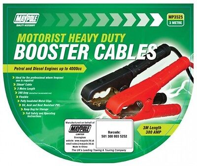 Maypole 3525 Heavy Duty Jump Leads Booster Cables - 20mm x 3m (Up to 4000cc)