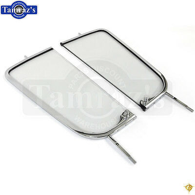 55-59 Chevy Pick Up Pickup Truck DOOR VENT Wing Window Glass w/ CHROME Frame PR