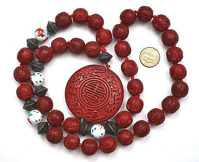 Chinese Cinnabar Lacquer Shou Silver Famille Rose Goldfish Bead Pendant Necklace
