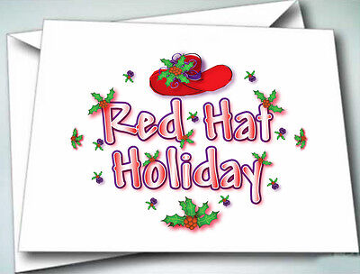 6 Note Cards W/ Envelopes Red Hat Holiday Christmas Design For Ladies Of Society