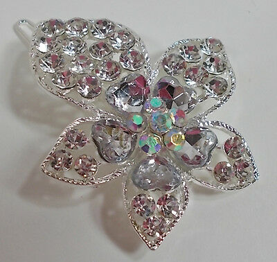 Large Silver Tone Flower Crystal Barrett Or Clip In Hair Or Many Items