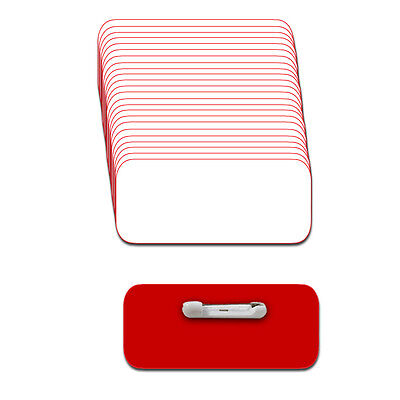 "White/red Blank Name Badge Kit (A) 25 Tags Labels Pins 1/4"" Corners 1 1/2 X 3"