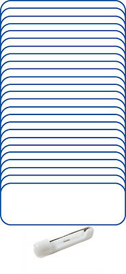 "25 Blank 1 X 3 White / Blue Name Badge Kit (A) Tags 1/4"" Corners Pins Labels"