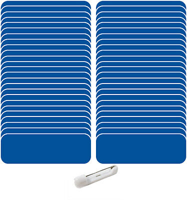 "50 Blank 1 X 3 Blue / White Name Badge Kit Tags 1/4"" Corners (U) Pins Labels"