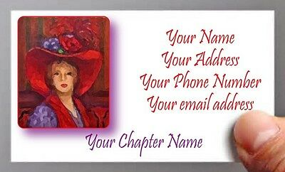 (#5) 50 Calling / Business Cards Personalized For Red Hat Ladies Of Society