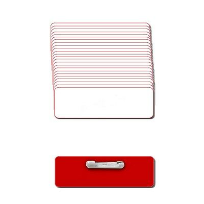 "25 Blank 1 X 3 White / Red Name Badgekit (A) Tags 1/8"" Corners Pins Labels"