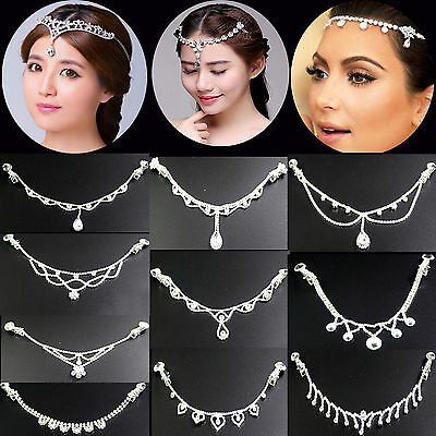 Womens Crystal Rhinestone Wedding Bridal Forehead Head Hair Band Head Chain USA