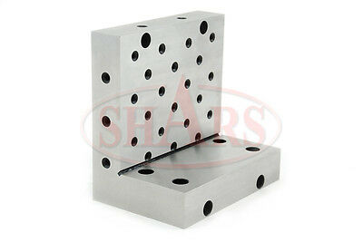 """SHARS Angle Plate 6x6x4x1-1/4"""" Precision Steel Ground 0.0002"""" w. Tapped Holes"""