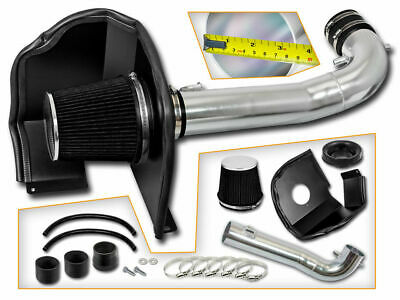 BLACK COLD AIR INTAKE KIT + HEAT SHIELD FOR GMC 14-17 Sierra 1500 5.3L 6.2L V8