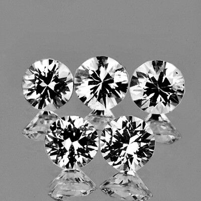 4.0mm ROUND 5 PCS DIAMOND CUT AAA+ FIRE WHITE ZIRCON NATURAL GEMSTONE [FLAWLESS]
