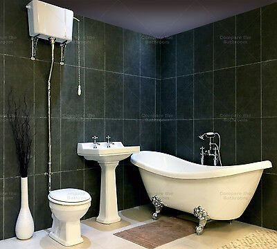 Mentmore Double Ended Slipper Bath Suite Roll Top High/low Level Toilet Bathroom