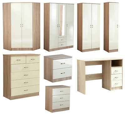 Caspian Black White Oak High Gloss Bedroom Furniture Wardrobe Drawers