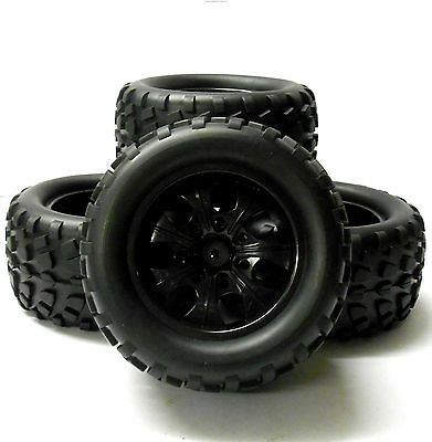 8093 1/10 Scale Off Road Monster Truck Tyre and Wheel Rim Black HSP x 4 08045