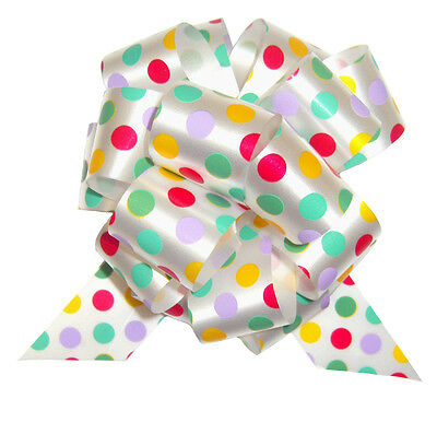 5 x SPOTTY PULL BOWS - Baby Shower Easter Birthday Gift Basket Hamper Party Bow