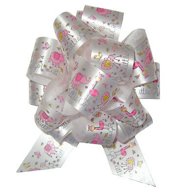 PINK & WHITE PULL BOWS- Baby Shower Birthday Girl Gift Basket Hamper Party Bow