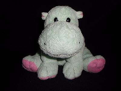 """Ty Pluffies TUBBY Green Pink Hippo 2002 Baby Plush Stuffed Animal Beanie Toy 8"""""""