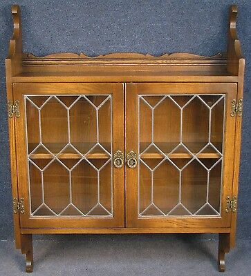 Old Charm Oak 2 Door Leaded Hanging Display Cabinet. Light Oak