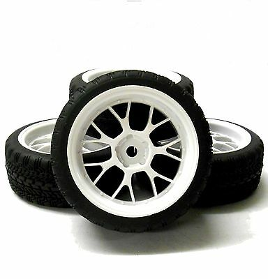 A20142 1/10 Scale On Road Soft Road Tread Car Wheels and Tyre Honeycomb White 4