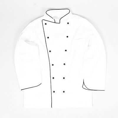 Executive Chef Jacket  Pipped Trim Double Breasted Buttons