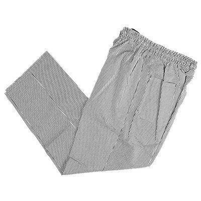 Black and white small check chef trousers bakers trousers elasticated waist draw