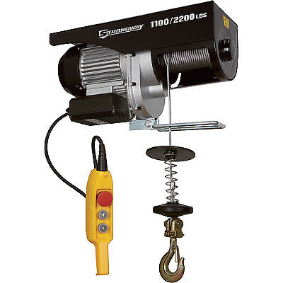 Strongway Electric Cable Hoist  - 1,100-Lb./2,200-Lb. Capacity
