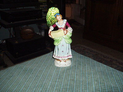 """Vintage COLONIAL LADY PLAYING ACCORDIAN 9.25"""" Porcelain Statue Figurine Japan"""
