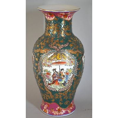 Vintage Chinese Hand Painted Colored Vase, Ladies at the Court