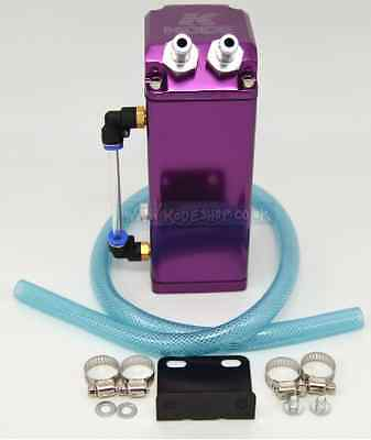 KODE-Universal Square Oil Catch Tank Breather Can Aluminium 10mm Fittings-Purple