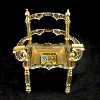 Madrid Metal Chair Ashtray Toledo Dish Vintage Souvenir Gold Color