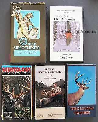 Lot of 5 VHS Hunting Videos/Tapes Scentology Whitetails Trophies Bears Rifleman