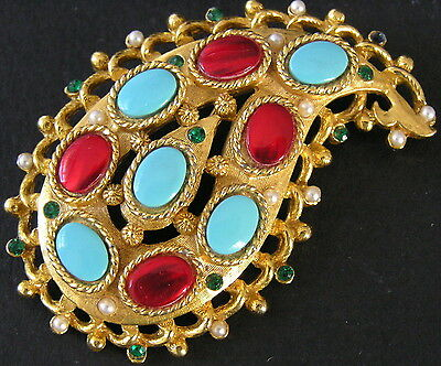 Stunning Vintage Estate CORO Pin Brooch Faux Turquoise Rubies Emeralds Pearls