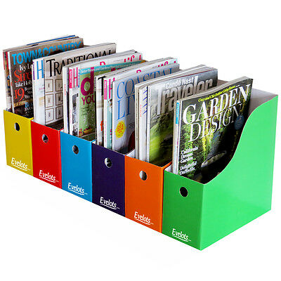 Evelots 6 Magazine/File Holders With Adhesive Labels, 5 Varying Color Styles