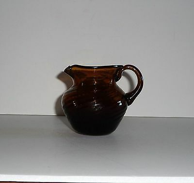 Swirl Ribbed Glass Amber Brown  Pitcher W/concave Bottom