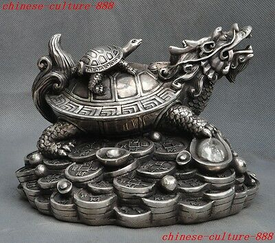 chinese fengshui silver money coin yuanbao animal Dragon turtle longevity statue