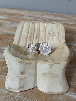 Carved Hands Whitewash Business Card Holder Wood Jewellery Holder Shabby Chic