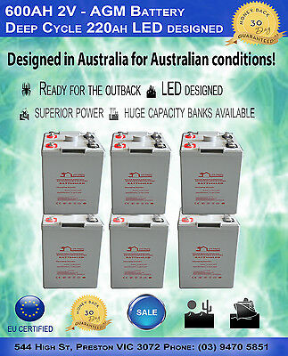 """600AH 2V """"LED"""" - AGM Battery Deep Cycle 600 ah (Pick Up Only)"""