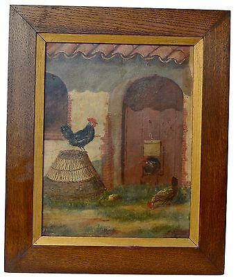 French Antique Oil Painting of Provence Farm Animals Rooster