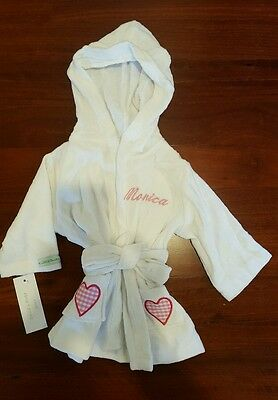 Baby Girl warm Dressing Gown / Bath robe Embroided ' Monica' White Size 1 BNWT
