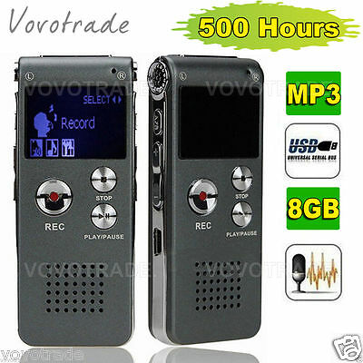 Pro 8GB Digital Voice Recorder time Display MP3 Player Dictaphone Rechargeable