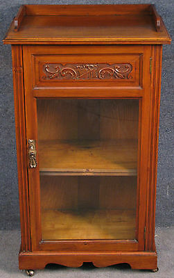 Victorian Carved Walnut Music Cabinet